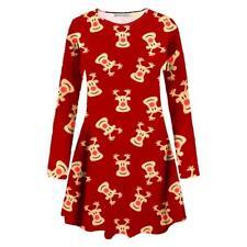 New Womens Girls Christmas Snowman Reindeer Snowflake Owl Xmas Flare Swing Dress