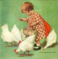 Little  Girl Feeding Chickens, by Jesse Wilcox 11 x 11