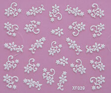 Nail Art 3D Decal Stickers Pretty White Flowers XF039
