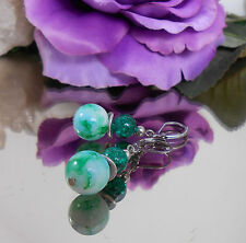 Ohrringe Glasperlen marmoriert + Crash Glas Perlen see grün - Edelstahl Brisur