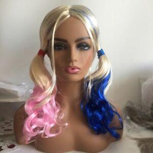 Halloween Cosplay Batman Suicide Squad Harley Quinn Wig Pink Blue Gradient Hair