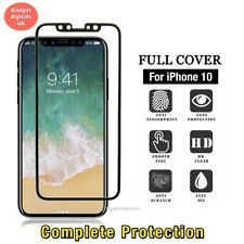 For Apple iPhone X 10 Black 3D Curved Full Cover Tempered Glass Screen Protector