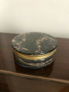 Marble Onyx Round Trinket Dish Bowl with lid (powder puff)