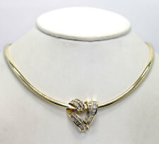 Diamond heart slide pendant omega necklace 14K YG baguette round brilliant 1.50C