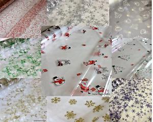 Christmas Cellophane Wrap 5 /10 /20 mtr roll / 50cm / 2 mtr sheet Many Designs