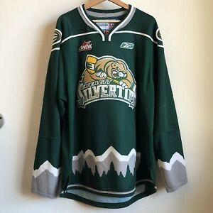 Vtg Reebok Everett Silvertips Green WHL CHL Hockey Jersey XL
