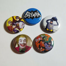 """BATMAN 66 TV SHOW - 1"""" inch BUTTON PIN x5 - pinback BATGIRL JOKER Adam West logo"""
