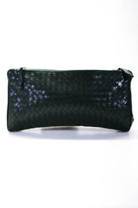 Bottega Veneta Zip Intrecciato Clutch Handbag Green