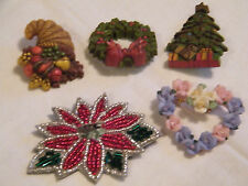 Christmas Thanksgiving Valentine Brooch Pin Lot 5 Plastic Sequins Colorful Nice