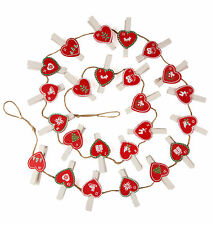 Heart Peg Advent Calendar on String with Nordic Scandi Design by Sass and Belle