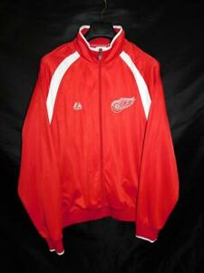 Detroit Red Wings Size XL Red White Jacket Majestic Hockey Full Zip Warm Up Mens