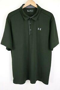 Under Armour Mens sz XXL Green Tech Polo Shirt Heat Gear Loose Fit