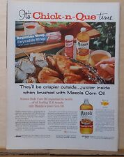 1959 magazine ad for Mazola oil - Time for a Chick-n-Que ! Chicken on the grill