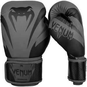 Venum Impact Hook and Loop Training Boxing Gloves - Gray/Black