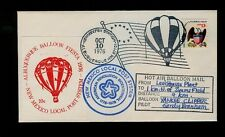 Oct 9 1976 Albuquerque NM Balloon Mail w/RED 10cent label CARRIED & SIGNED.