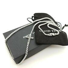 David Yurman Sterling Silver Black Diamond Cross 3.6mm Box Chain 26in Necklace
