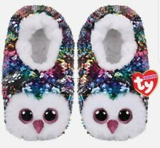 TY BEANIE OWEN Size Large, Rainbow Owl Fashion Slipper Socks