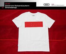 Audi Original T-Shirt Ringe Herren 313200040 weiß rot RInge 3D Druck Rundhals