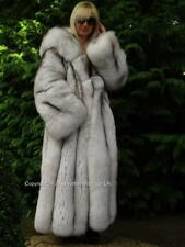Nouveau SAGA 2018 Platinum Shadow Blue Fox Fur Long Swing Manteau & massive Capuche UK XXL