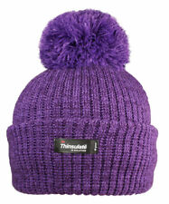 22a38f2fd6bbd Knitted Thinsulate Style Thermal Insulate Ski Bobble Pom Beanie Woolly Hat  Purple
