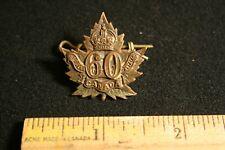Ww1 Collar Dog Badge Overseas Battalion #60 Original
