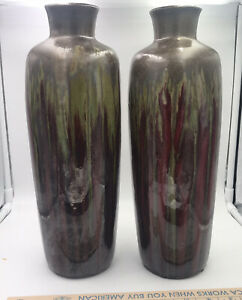 """Pier One 13.5"""" Tall Cylinder Pottery Drip Glaze Vases Brown & Green Earth Colors"""