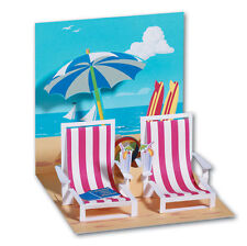 Beach Chairs Pop-Up Greeting Card - Greeting Card by Up With Paper