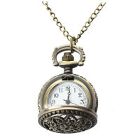 Montre Gousset Pocket Watch Quartz Alliage Bronze Pendentif Chaine Fleur  A3J6
