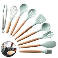 1PC Silicone Wooden Handle Kitchenware Soup Scraper Spatula Brush Kitchen Spoon