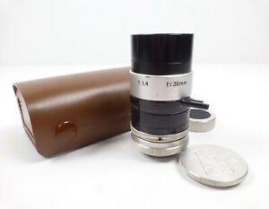 Bolex Kern-Paillard H8 RX Switar 36mm F1.4 Cine Camera Lens w/Case and Caps