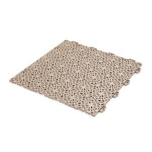 Bergo Deck Tiles 1.24X1.24 Ft Floor Primed Water Resistant PVC Cedar Wood Brown