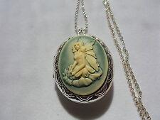 "26"" Chain (Green-Cream) Fairy Pixie Sitting Locket"
