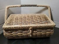 Vintage Sewing Basket Woven Wicker Satin Fabric Padded Top & Lining Japan