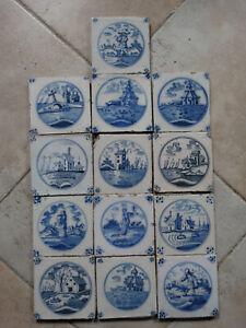 13 Delft Blue tiles, landscape tiles, circa 1780.