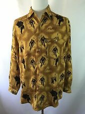 Mint Mens FUBU Collection Sz M Relax Skiing Print Long Sleeve Shirt Gold Green