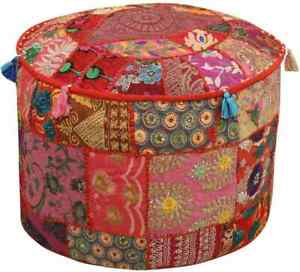 """RED OTTOMAN POUF COVER 18X18"""" VINTAGE HANDMADE INDIAN PATCHWORK FOOTSTOOL THROW"""