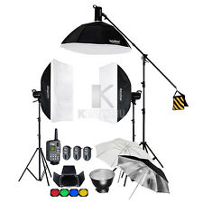 3x Godox SK400 400WS Flash Light Strobe Softbox 2.8m Stand Boom Arm Trigger Kit