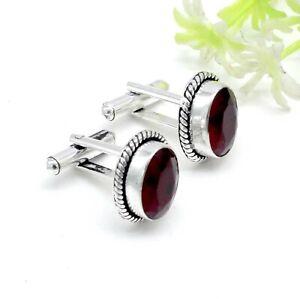 925 Sterling Silver Mozambique Garnet Gemstone Handmade Jewelry Cufflinks Size-1
