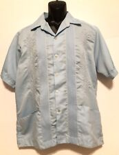 VINTAGE Maya Fiel, CABANA Shirt, Light Blue, Embroidered -  E 17-17 1/2