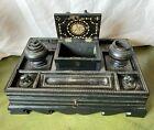 Antique Ceylonese Ebonised Desk Stand 19th Century Elephants Sri Lanka / Ceylon