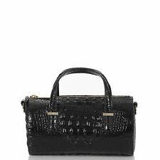 Brahmin Claire Black Melbourne Leather Barrel Satchel Crossbody Bag New $255