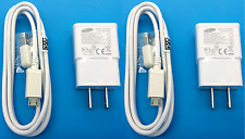 Set of 2 Samsung Galaxy S2 S3 S4 S5 Micro USB Data Cable Home Wall Charger