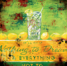 """24W""""x24H"""" IT'LL COST NOTHING TO DREAM by RODNEY WHITE - LEMONS LEMONADE CANVAS"""