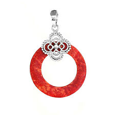 Natural Red Coral Gemstone 925 Solid Sterling Silver Round Shape Pendant