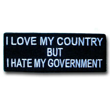 I Love My Country Patch Iron on Biker Harley Club Saying Text Fun Race Badge Sew