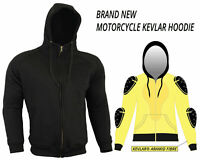 MENS BLACK FLEECE HOODIE WITH KEVLAR REMOVABLE ARMOR MOTORBIKE MOTORCYCLE JACKET