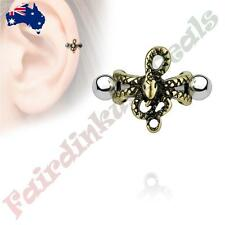 Antique Gold Plated Snake Ear Cartilage/Helix Cuff 316L Surgical Steel Barbells