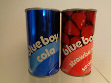 2 Vintage Blue Boy Straight Steel Pull Tab Bottom Opened Soda Cans No Bar Codes
