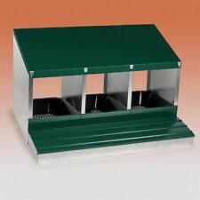 3 Bay Nest Box Rollaway for Chickens Hen Strong Galv Metal, Insert and Flap
