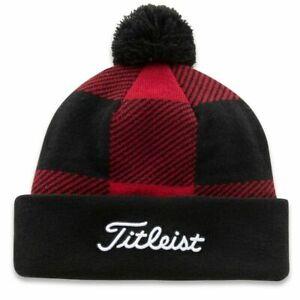 New Titleist Golf Pom Pom Winter Hat Buffalo Plaid Black Red White